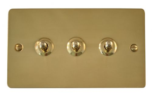 G&H FB283 Flat Plate Polished Brass 3 Gang 1 or 2 Way Toggle Light Switch
